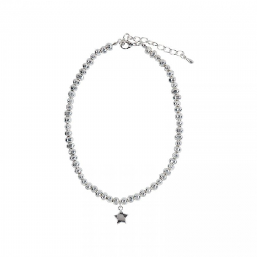 Simple Star Charm Necklace with Irregular Shaped Silver Nuggets